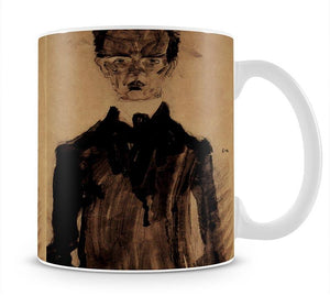 Self-Portrait in a black robe by Egon Schiele Mug - Canvas Art Rocks - 1