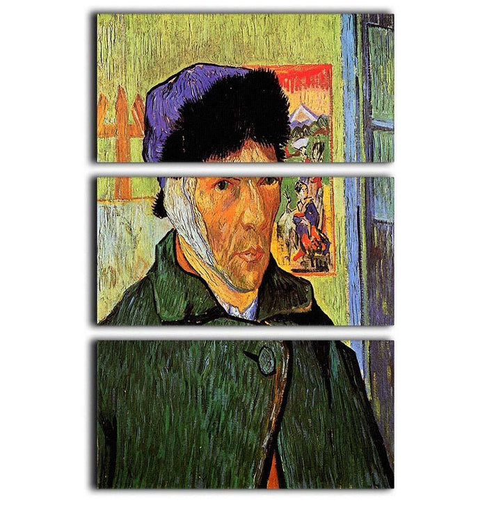 Self-Portrait with Bandaged Ear by Van Gogh 3 Split Panel Canvas Print