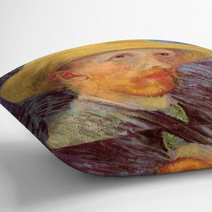 Self-Portrait with Straw Hat by Van Gogh Throw Pillow