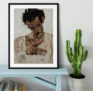 Self-portrait with lowered head by Egon Schiele Framed Print - Canvas Art Rocks - 1