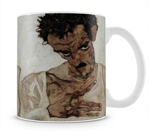 Self-portrait with lowered head by Egon Schiele Mug - Canvas Art Rocks - 1