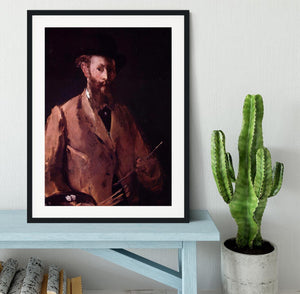 Self Portrait with Pallette by Manet Framed Print - Canvas Art Rocks - 1