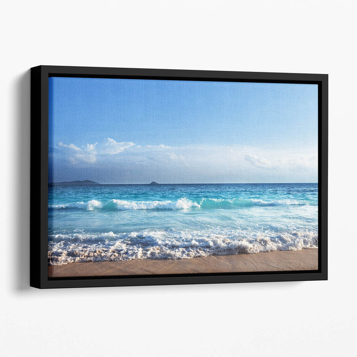 Seychelles beach in sunset time Floating Framed Canvas