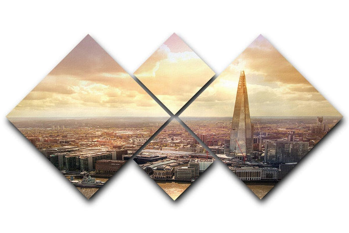 Shard of Glass at sunset 4 Square Multi Panel Canvas