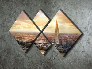 Shard of Glass at sunset 4 Square Multi Panel Canvas  - Canvas Art Rocks - 2