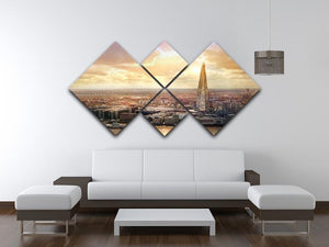 Shard of Glass at sunset 4 Square Multi Panel Canvas  - Canvas Art Rocks - 3