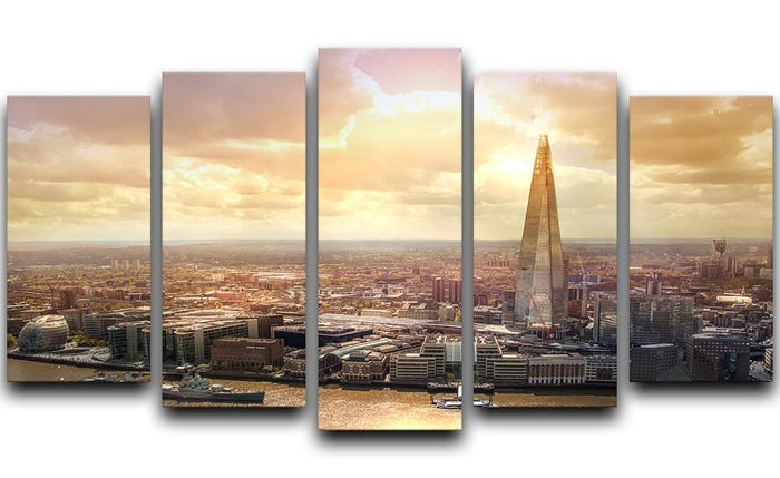 Shard of Glass at sunset 5 Split Panel Canvas