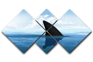 Shark fin above water 4 Square Multi Panel Canvas  - Canvas Art Rocks - 1