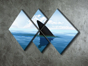 Shark fin above water 4 Square Multi Panel Canvas  - Canvas Art Rocks - 2