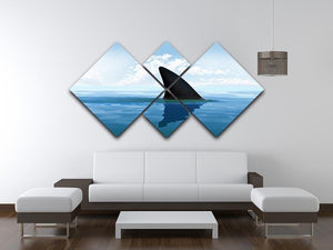 Shark fin above water 4 Square Multi Panel Canvas  - Canvas Art Rocks - 3