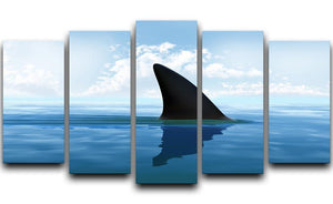Shark fin above water 5 Split Panel Canvas  - Canvas Art Rocks - 1