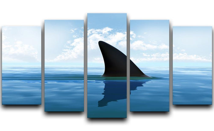 Shark fin above water 5 Split Panel Canvas