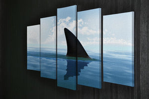 Shark fin above water 5 Split Panel Canvas  - Canvas Art Rocks - 2