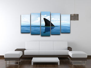 Shark fin above water 5 Split Panel Canvas  - Canvas Art Rocks - 3
