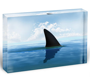 Shark fin above water Acrylic Block - Canvas Art Rocks - 1