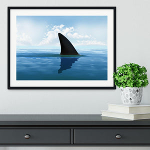 Shark fin above water Framed Print - Canvas Art Rocks - 1