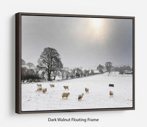 Sheep in the snow Floating Frame Canvas - Canvas Art Rocks - 5