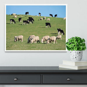 Sheeps in green rural meadow with cows Framed Print - Canvas Art Rocks -6