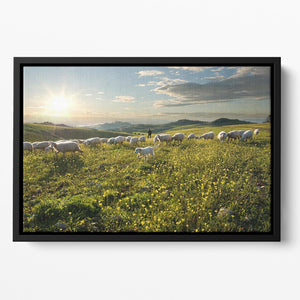 Shepherd with dog and sheep Floating Framed Canvas - Canvas Art Rocks - 2