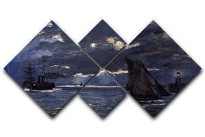 Shipping by Moonlight by Monet 4 Square Multi Panel Canvas  - Canvas Art Rocks - 1