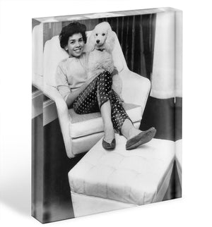 Shirley Bassey with her poodle Acrylic Block - Canvas Art Rocks - 1