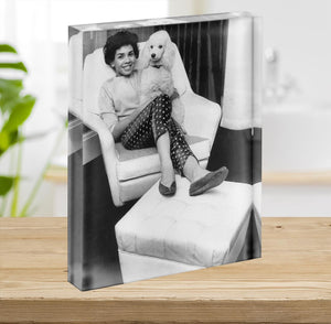 Shirley Bassey with her poodle Acrylic Block - Canvas Art Rocks - 2