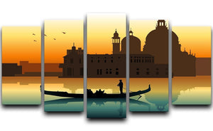 Silhouette illustration gondola in Venice 5 Split Panel Canvas  - Canvas Art Rocks - 1