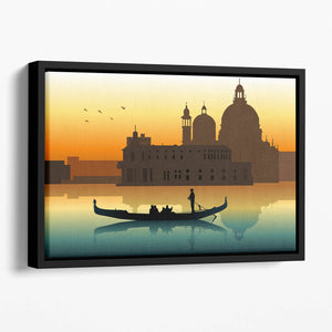 Silhouette illustration gondola in Venice Floating Framed Canvas