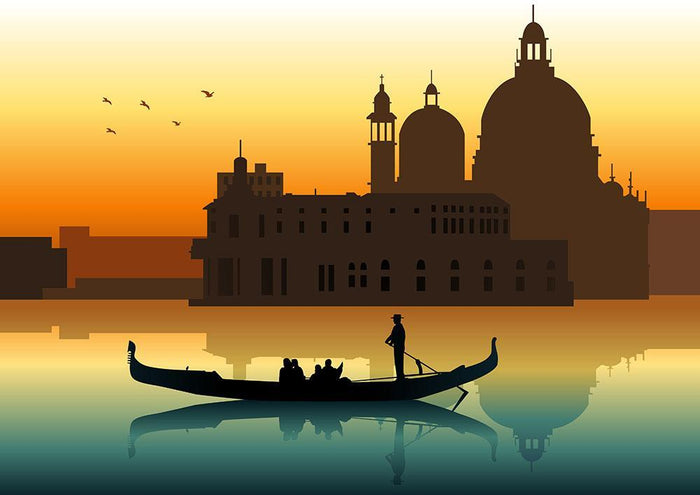 Silhouette illustration gondola in Venice Wall Mural Wallpaper