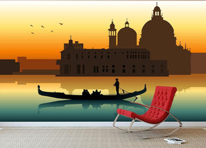Silhouette illustration gondola in Venice Wall Mural Wallpaper - Canvas Art Rocks - 2