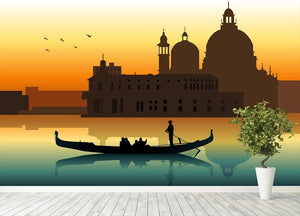 Silhouette illustration gondola in Venice Wall Mural Wallpaper - Canvas Art Rocks - 4