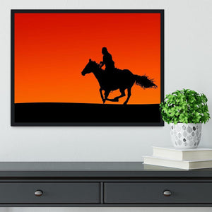 Silhouette of a horse and rider at sunset Framed Print - Canvas Art Rocks - 2