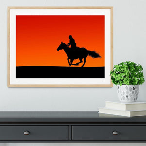 Silhouette of a horse and rider at sunset Framed Print - Canvas Art Rocks - 3