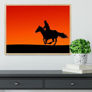 Silhouette of a horse and rider at sunset Framed Print - Canvas Art Rocks - 4