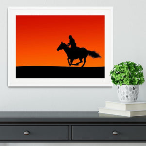 Silhouette of a horse and rider at sunset Framed Print - Canvas Art Rocks - 5