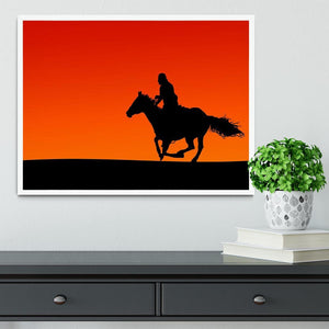 Silhouette of a horse and rider at sunset Framed Print - Canvas Art Rocks -6