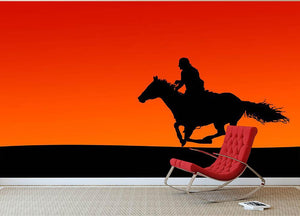 Silhouette of a horse and rider at sunset Wall Mural Wallpaper - Canvas Art Rocks - 2
