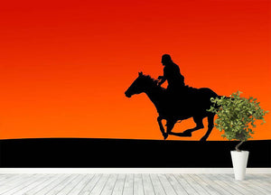 Silhouette of a horse and rider at sunset Wall Mural Wallpaper - Canvas Art Rocks - 4