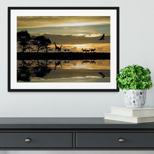 Silhouette of animals in Africa Framed Print - Canvas Art Rocks - 1