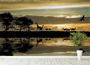 Silhouette of animals in Africa Wall Mural Wallpaper - Canvas Art Rocks - 4