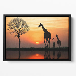 Silhouette of giraffe with reflection in water Floating Framed Canvas - Canvas Art Rocks - 2