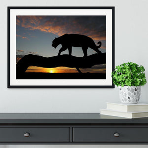Silhouette of leopard on tree over sunset Framed Print - Canvas Art Rocks - 1