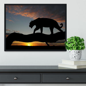 Silhouette of leopard on tree over sunset Framed Print - Canvas Art Rocks - 2