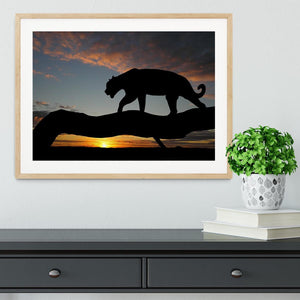 Silhouette of leopard on tree over sunset Framed Print - Canvas Art Rocks - 3