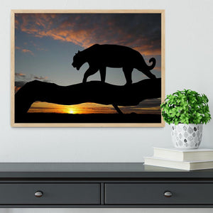 Silhouette of leopard on tree over sunset Framed Print - Canvas Art Rocks - 4