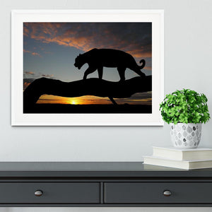 Silhouette of leopard on tree over sunset Framed Print - Canvas Art Rocks - 5