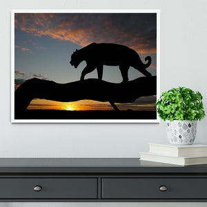 Silhouette of leopard on tree over sunset Framed Print - Canvas Art Rocks -6