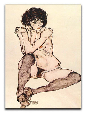 Sitting female nude by Egon Schiele Canvas Print or Poster - Canvas Art Rocks - 1