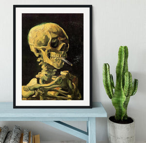 Skull with Burning Cigarette by Van Gogh Framed Print - Canvas Art Rocks - 1