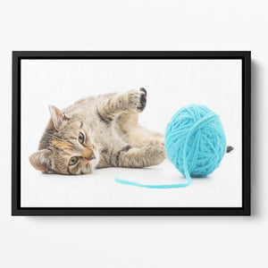 Small funny kitten and clew of thread Floating Framed Canvas - Canvas Art Rocks - 2